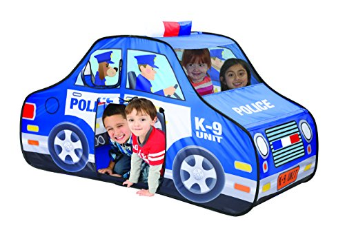 TravenPal Police car Tent by Kids Pop Up Playhouse Pop Up Tent- Happy Time Interactive Police Car Play House- Excellent For Indoor & Outdoor Use- Instant Set-Up + Easy Storage Case