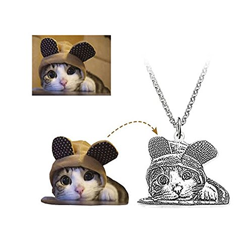 Personalized Pet Picture Jewelry - Custom Photo Double Sided Necklace- Silver Pet Memorial Charm Pendant For Dogs or Cats (20 inches) (Necklace Pet)