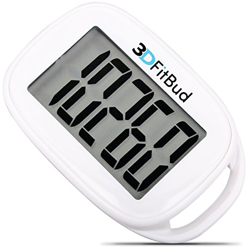 3DFitBud Simple Step Counter Walking 3D Pedometer with Lanyard, A420S (White)