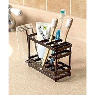 The Lakeside Collection Metal Bathroom Counter-top Organizer - Bronze