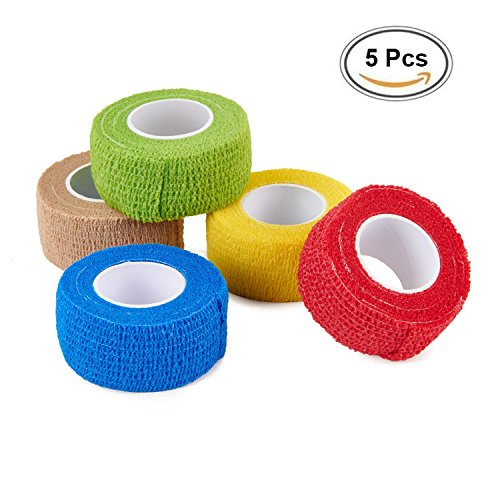 Golfers Buddy - CamGo 5-Pack Self-Adhesive Bandage Rolls Elastic Cohesive Protector Tapes for Finger Wrist and Ankle (Rainbow - 1