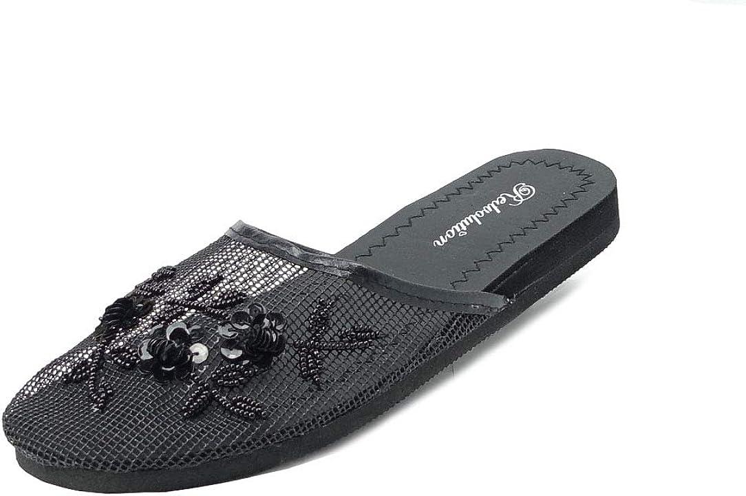 Women/'s Slip On Chinese Slippers Sandals Black Sizes 6 7 8 9 10 11