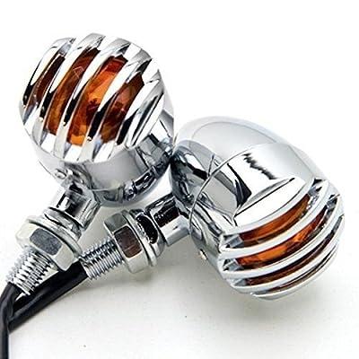 Candance(TM)Matte Chrome Grill Grille Aluminum Bullet Amber Turn Signal Indicator Blinker Light For Harley Sportster Dyna Glide Custom Bobber Chopper Cruiser,Motorcycle,Custom Bike,Cafe Racer, Harley,Honda/Kawasaki,BMW,Yamaha