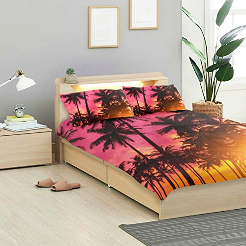 VANKINE Tropical Duvet Cover Set Tropical Sunset On Remote Island Beach Design Bedding Decoration Twin Size 3 PC Sets 1 Duvets Covers with 2 Pillowcase Microfiber Bedding Set Bedroom Decor Accessorie