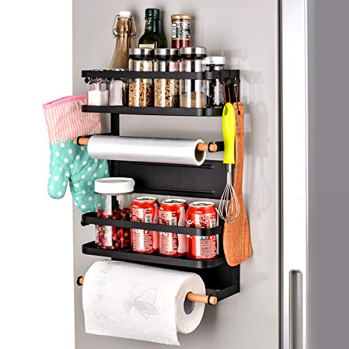 Sunix Kitchen Rack Fridge Magnetic Organizer, 12.6x5.2x18.1in New Design Paper Towel Holder, Rustproof Spice Jars Rack, Multi Use Refrigerator Side Shelf Including 5 Removable mobile Hooks (BLACK)