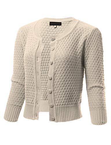 (ARC Studio Womens Button Down 3/4 Sleeve Crewneck Cropped Knit Cardigan Crochet Sweater XL Oatmeal)