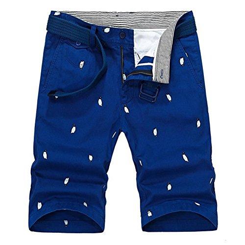 Delamode Men Cotton Penguin Point Print Pants Casual Liner Belt Cool Beach Shorts Blue-32