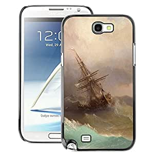 A-type Arte & diseño plástico duro Fundas Cover Cubre Hard Case Cover para Samsung Note 2 N7100 (Storm Painting Sailing Art Waves)