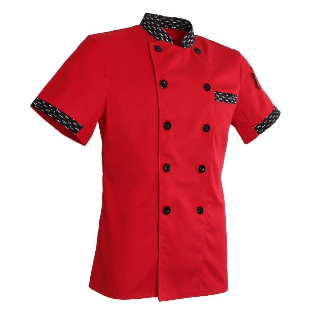 MagiDeal Damen Herren Kochjacke Bäckerjacke Kurzarm Kochkleidung Gastronomie Berufsbekleidung Chef Mantel Jacke Restaurant Cook Uniform