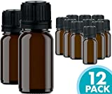 Glass Bottles for Essential Oils - 12 Pack 10 ml Refillable Empty Amber Bottle with Orifice Reducer...