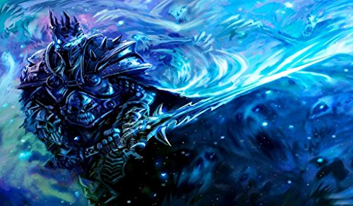 Wow Lich King TCG playmat, gamemat 24'' wide 14'' tall for trading card game smooth cloth surface rubber base by Masters of trade
