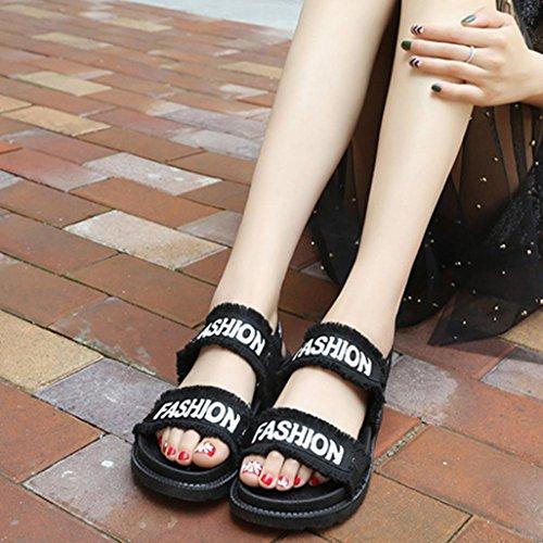 hunpta Summer Gladiator Women Flat Fashion Shoes Casual Occasions Comfortable Sandals Black rSG0gV