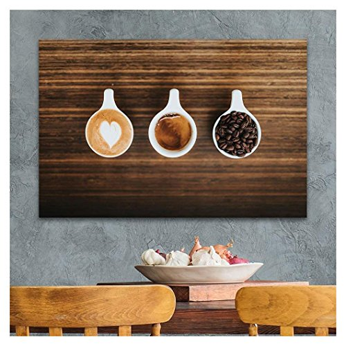 Cups of Coffee and Coffee Beans on Wooden Board