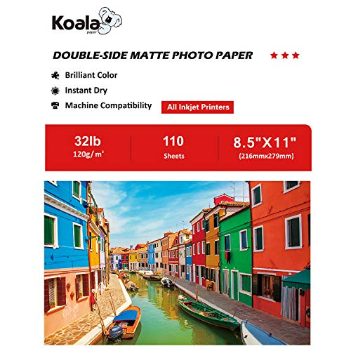 Koala Photo Paper 8.5x11 Inches Double Sided Matte 110 Sheets 120gsm Compatible with All Inkjet ()