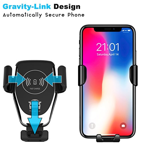 Fast Wireless Car Charger - Qi Wireless Charger Car Mount and Phone Holder for Car - 10W Wireless Charger for Samsung Galaxy S9/S9+/S8/S8+ and Apple iPhone X/8 and Qi Enabled Devices   Drive Safe by Axion (Image #1)