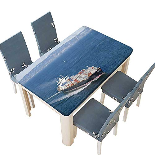 PINAFORE Polyesters Tablecloth Ship with containers Aerial View in san Francisco Wedding Birthday Baby Shower Party W25.5 x L65 INCH (Elastic Edge)]()