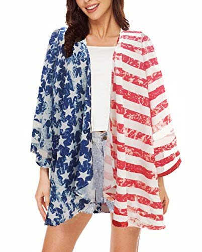 Women Mesh Panel 3/4 Bell Sleeve Floral Chiffon Casual Loose Kimono Cardigan Capes (M, 1) -