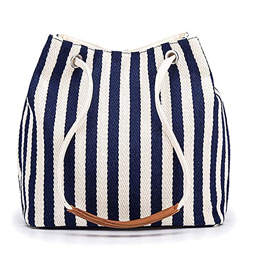 Women's Tote Bag Small Canvas Shoulder Bag Hobo Bag Daily Working Handbag (Navy, Small)