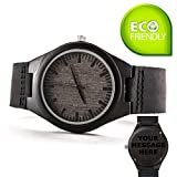 Custom Men Engraved Wooden Watches Personalized Leather Strap Casual Ebony Wristwatch by Famgem