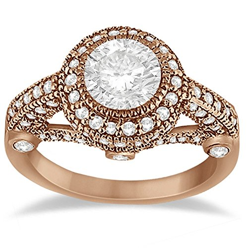 Vintage Diamond Halo Art Deco Engagement Ring Byzantine Style Antique 14k Rose Gold (0.97ct)