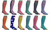 Mens Premium Stretch CottonPoly 12Pack Colorful Over-The-Calf Dress Socks