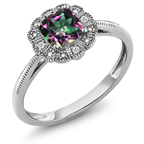 18K White Gold Cushion Cut Green Mystic Topaz and Diamond Women's Ring 0.71 cttw (Size 9)