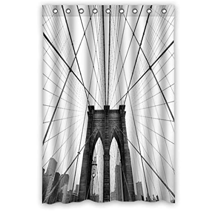 Nyc Brooklyn Bridge Black And White Photo Fashion Shower Curtain Rings Included 100
