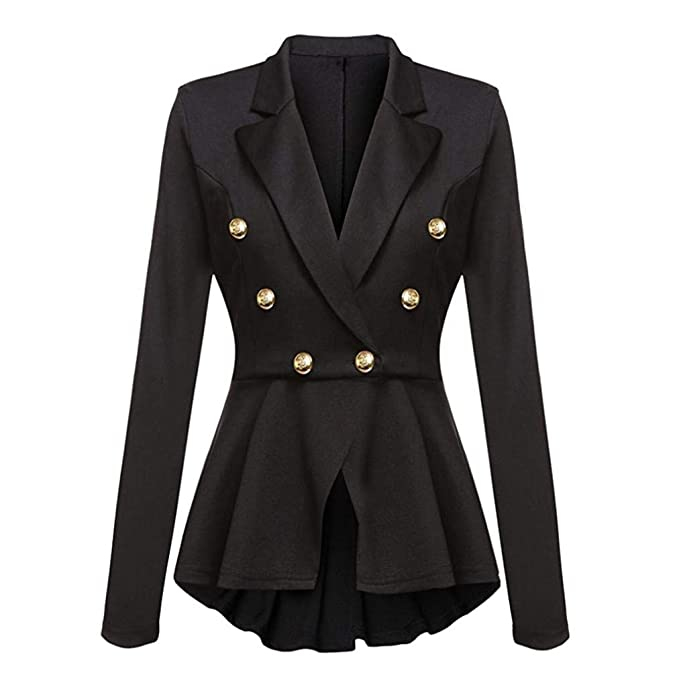 b093ddecc1b8e UONQD 2019d Women Jacket Long Sleeve Blazer Ruffles Peplum Button Coat  Outwear (Small