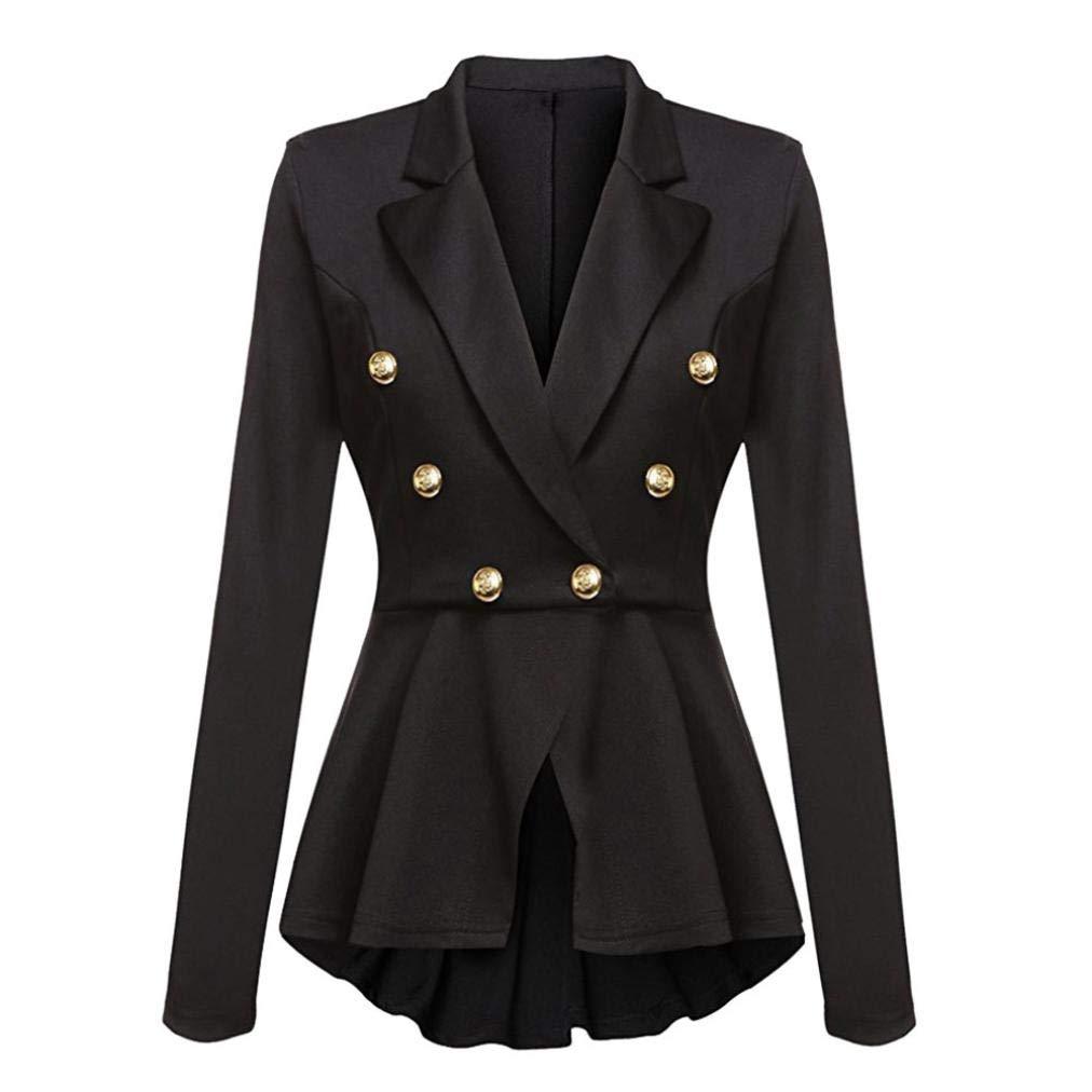 UONQD Women Jacket Long Sleeve Blazer Ruffles Peplum Button Coat Outwear (Medium,Black)
