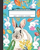 """Composition Notebook: Rabbit / Bunny - Pet  Animals Exercise Book & Journal , Back To School Gifts For Teens Girls Boys Kids Friends Students 8x10"""" 110 Pages"""