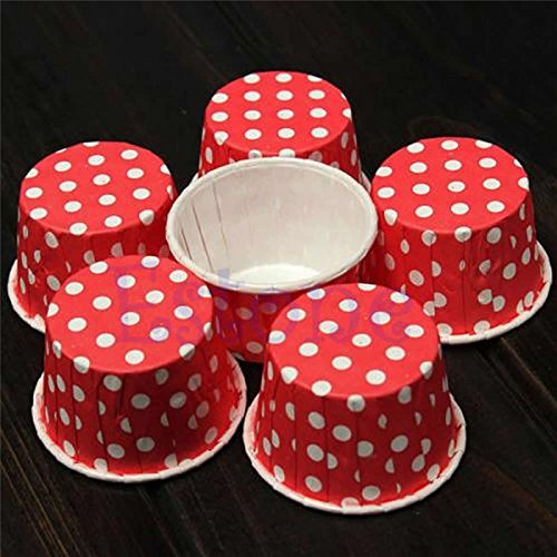 Price comparison product image Zixcos(TM) 50 Pcs Cupcake Liner Baking Cup Cupcake Paper Muffin Cases Cake Box Egg Tarts Tray Cake Mould Decorating Tools[Red]