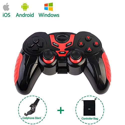 PinPle Bluetooth Game Controller Wireless Rechargeable Gamepad with Clip – Support Android / iOS / Windows – for iPhone / iPad / Smartphone / Tablet / PC / TV Box (Red)