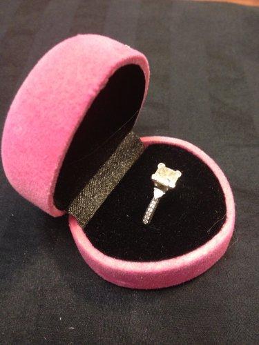 (Pink Heart Velvet Metal Hinged Engagement Wedding Ring Deluxe Gift Box B12)