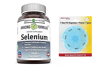 240 de Amazing fórmulas selenio - 200 Mcg, tabletas con gratis 7 días plástico píldora