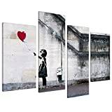 """Large Banksy Balloon Girl Canvas Wall Art - Red Heart Split Set of 4 Pictures - 130cm / 51"""" Wide"""