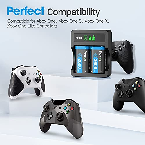 POWXS Rechargeable Battery Pack for for Xbox One Xbox Series X S, 2x2600mAh High Capacity Rechargeable Battery Pack with Charger for Xbox One/Xbox One S/Xbox One X/Xbox One Elite Wireless Controller