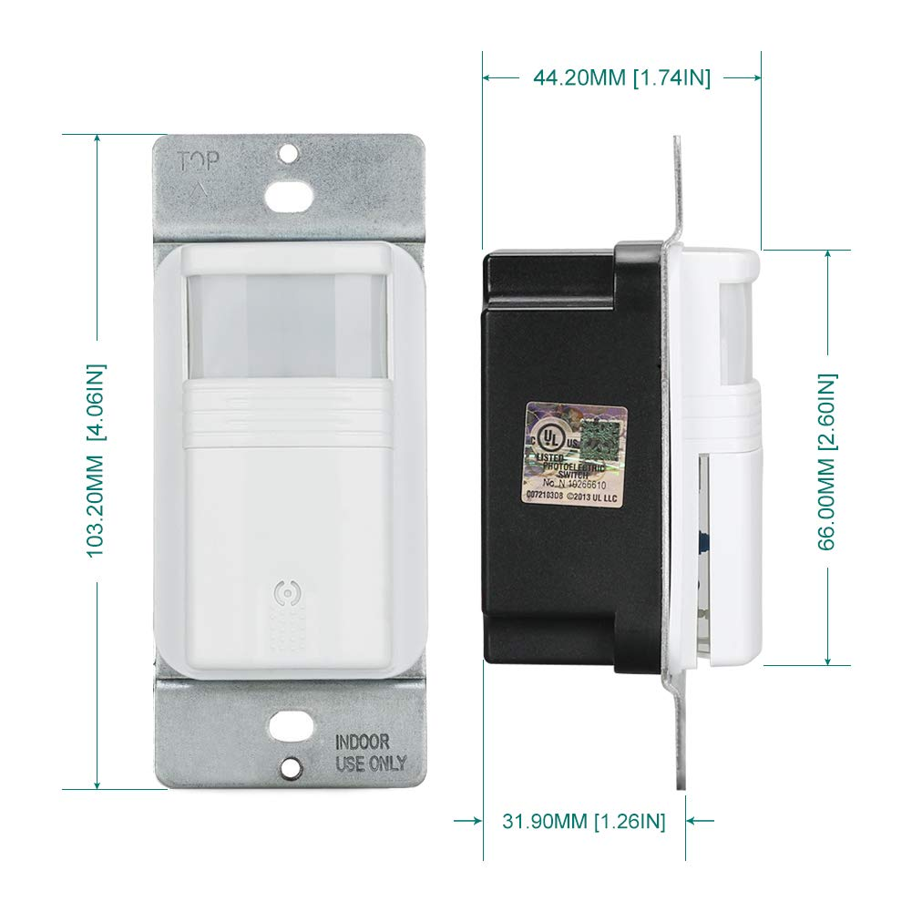 ECOELER Motion Sensor Wall Switches, PIR Occupancy Sensor Light Switch, Adjustable Motion-Activated by ECOELER (Image #7)