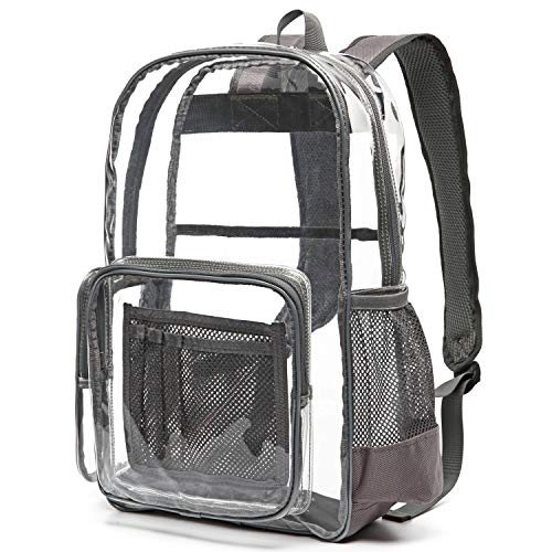 (Heavy Duty Clear Backpack, Ace Teah Clear Transparent PVC Multi-Pockets School Backpacks, See-Through Outdoor Backpack for Work, Security, Sports Events (Grey))