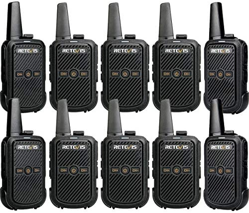 Retevis RT15 Walkie Talkies Adults VOX FRS UHF Two Way Radio Encryption Long Range Hands Free 2 Way Radios Walkie Talkies 10 Pack