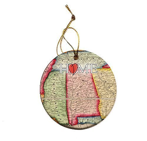 Alabama State Map Christmas Tree Porcelain Ornament - Alabama Holiday Ornament
