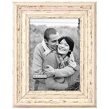 Malden International Designs Off White Distressed Wood Picture Frame, 5x7, Off White