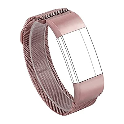 Wearlizer Milanese Loop Replacement Metal bands - Fitness Wristband for Fitbit Charge 2
