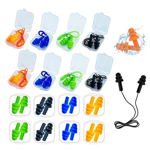 Ear Plugs for Sleeping,16 Pairs Noise Canceling Ear Plugs Soft Reusable Silicone Earplugs Waterproof Noise Reduction…