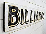 "Billiards Sign Horizontal - 48""x10"" Carved in a Cypress Board Rustic Distressed Shop Advertisement Farmhouse Style Wooden Wood Nostalgia Billiards Cue Sports Pool Hall Bar"