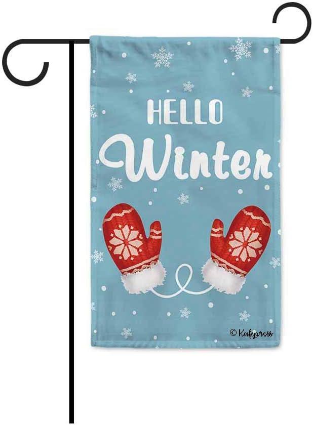 KafePross Hello Winter Snow Decorative Garden Flag Red Gloves Snowflake Decor Christmas Banner for Outside 12.5X18 Inch Double Sided