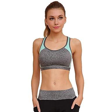 Mujer Sujetador Deportivo Sin Aros Alto Impacto Shock Absorber Running Yoga Aptitud Fitness Racerback Push Up Sujetadores Deporte para Mujeres, ...