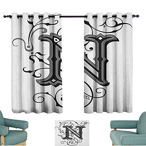 SONGDAYONE Heat Insulation Curtain Letter N Cafe Curtain Middle Ages Inspired Capital N Abstract Elements Black Dark Colored Palette (2 planels,W55 x L39) Black Grey White