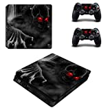 Chickwin PS4 Slim Vinyl Skin Full Body Cover Sticker Decal For Sony Playstation 4 Slim Console & 2 Dualshock Controller Skins (Skull Red Eyes)