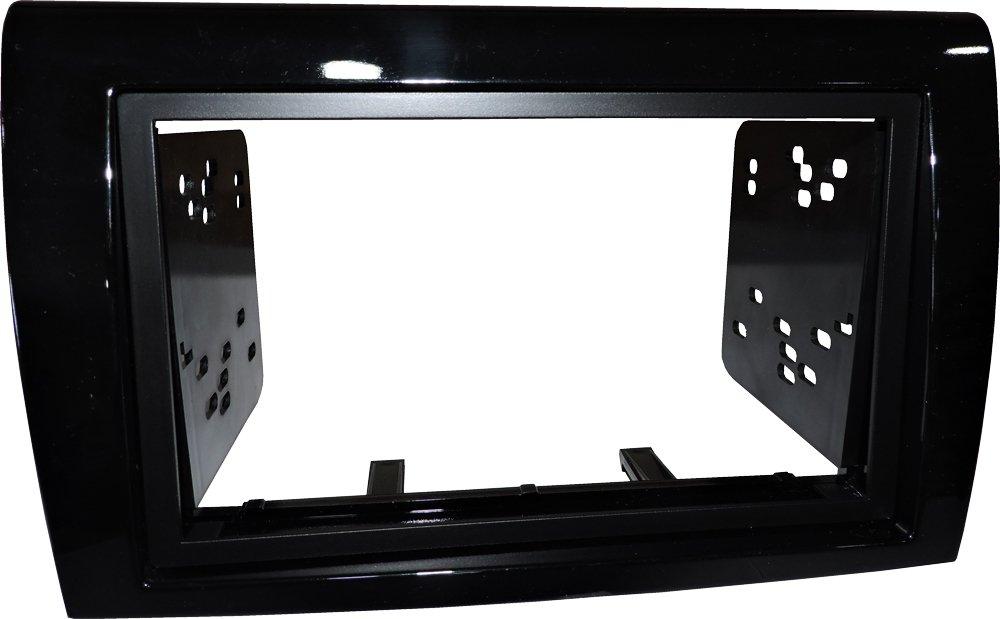Mascherina autoradio 2 DIN Kit installazione completo di staffe colore Nero lucido Master Line