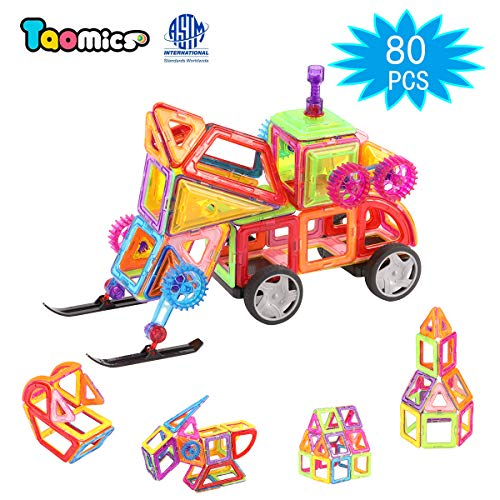 (Taomics 80PCS Magnetic Building Tiles Wheels, Children's Educational Toys Developing Imagination Creativity Spatial Thinking, 3D Clear Construction Magnetic Building Blocks Set)